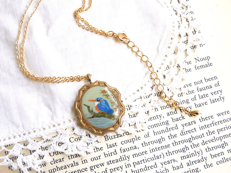 Hand drawn kingfisher vintage brass frame necklace necklace