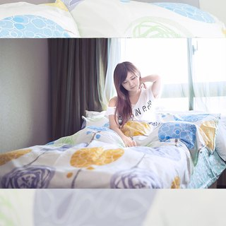 (increase) summer mint (yellow) - double-sided design 100% combed cotton thin bed bag four-piece group 6 × 6.2 feet