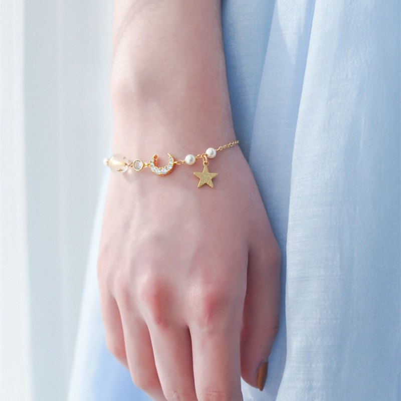 Star Moon bracelet copper gilded cents temperament