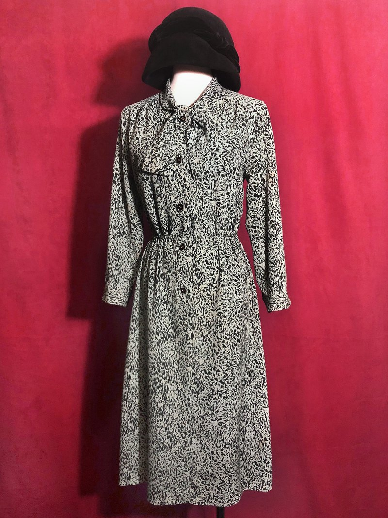 Animal print bow tie long sleeve vintage dress / foreign bring back VINTAGE