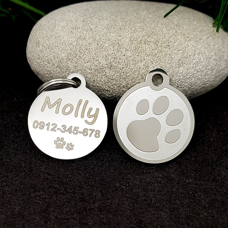 Bone with bowl Dog ID Tag in Stainless Steel