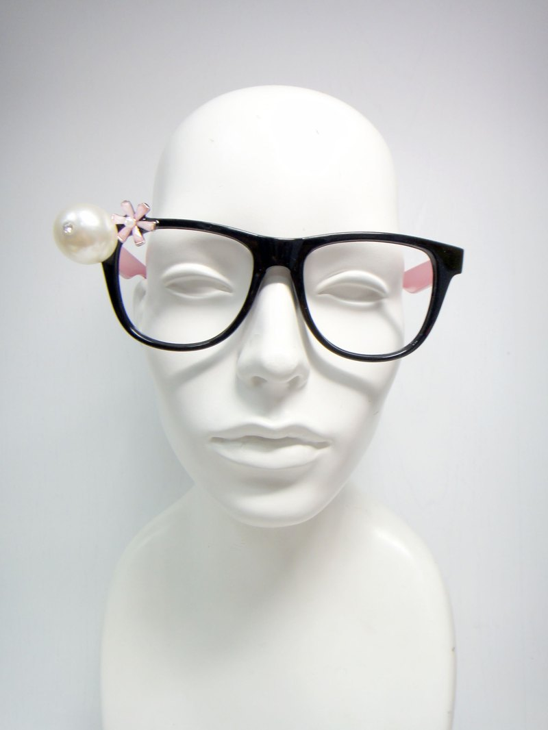 TIMBEE LO Pearl Flower Glasses Frame Decorative Glasses