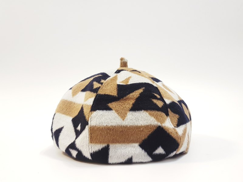 Wen Qing Fashion Pumpkin Hat - Blue and White Triangle Plaid #礼物#秋冬#厚毛料#画家帽#贝蕾帽