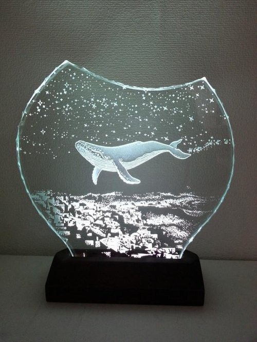 Starry night-whale glass etching panel M size · LED Stand Set (Lamp Lighting)