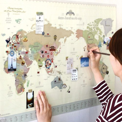 indigo- world map poster (double) -02 pastel version (limited home delivery), IDG70237