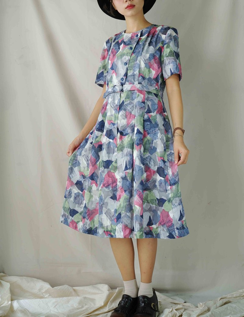 Treasure Hunting - Blue Tone Brush Strokes Retro Dress