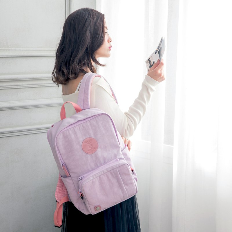Waterproof computer function backpack (soft pink purple X dynamism pink) M