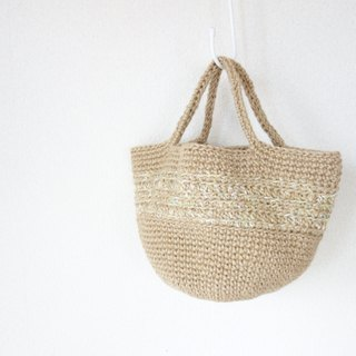 Round bottom hand-bag / yellow-green line / jute / yuoworks