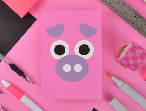 12 Chinese Zodiac Greeting Card Postcard - Pig