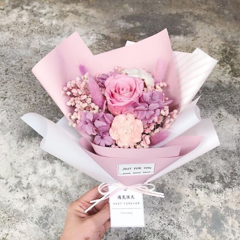 [Meet long-lasting] pink bubble eternal flower dry bouquet
