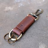 Personalized Initial Leather Keychain / Dark Brown.