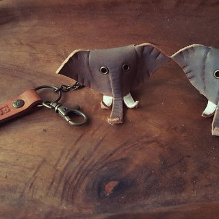 Cute little gray elephant pure leather key ring can be engraved (made lover, birthday gift)