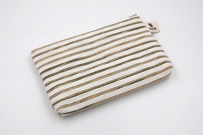 【Paper Home】 Paper woven cosmetic bag coffee white