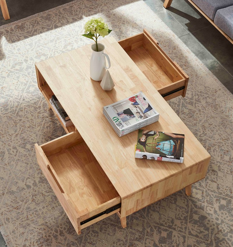 Wesgren Nordic Japanese modern solid wood double drawer design coffee table set
