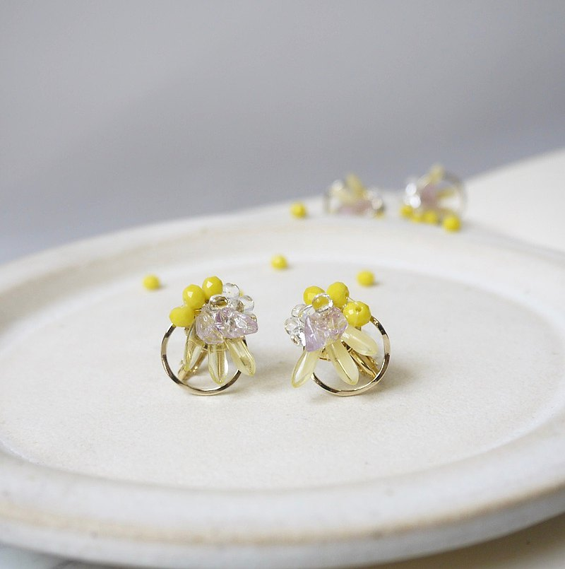 Mimosa yellow small earrings