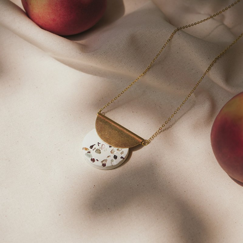 Natural Stone Terrazzo Concrete Necklaces