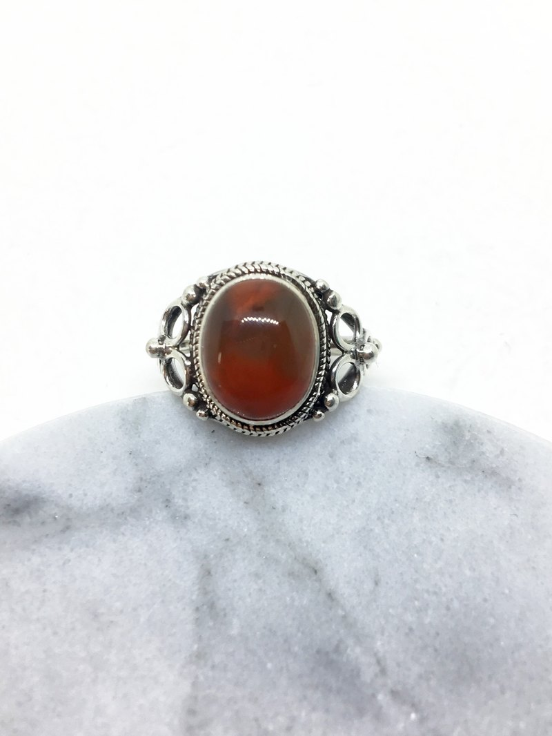 South red agate 925 sterling silver elegant design ring Nepal handmade mosaic production