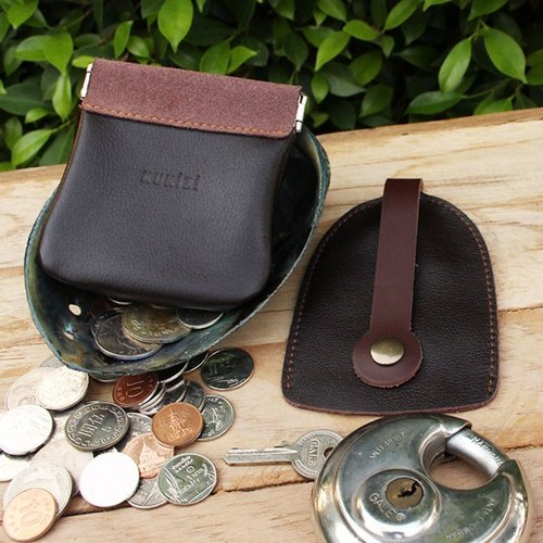 Set of Coin Bag & Key Case - Brown + Brown Strap / Cow Leather / Coin Purse