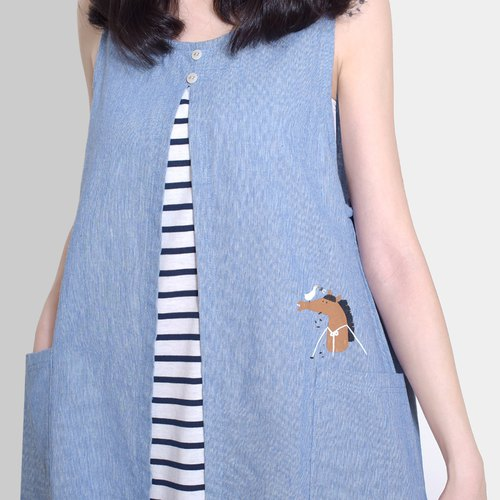 [Last one] refreshing flat bangs horse - stitching striped vest skirt, linen blue