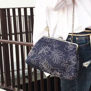Handmade 2WAY 20cm frame shoulder bag -Limited edition denim flower