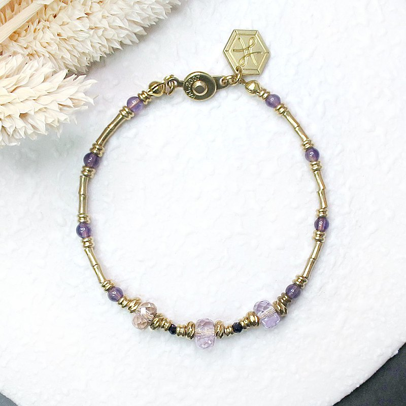♦ ViiArt ♦ distant river - Danube ♦ purple yellow crystal purple dragon crystal brass bracelet