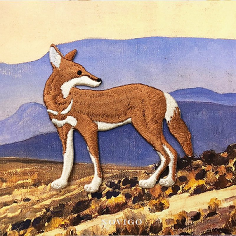 Novigo ironing embroidery on the verge of extinct animals / Ethiopian wolf