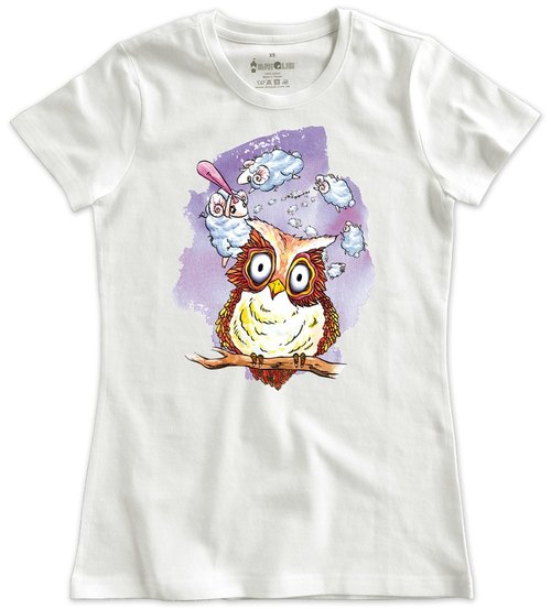 Classic white short-sleeved T-shirt _ really sleepy owl (male without stock)