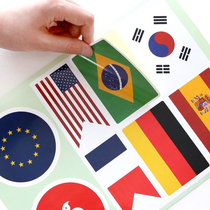 indigo Travel around the trunk waterproof stickers - world flag, IDG73634