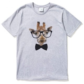 Giraffe-Bow Tie Men's Short Sleeve T-Shirt Gray Giraffe Tie Glasses Beard Animals Wenqing Art Design Trendy Text Fashion