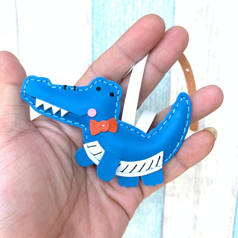 Healing small object blue crocodile hand-sewn leather charm small size