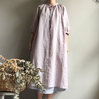 # Manor Forest Light Grey Small Collar Knot Banding. Air sense wrinkled long dress 100% linen
