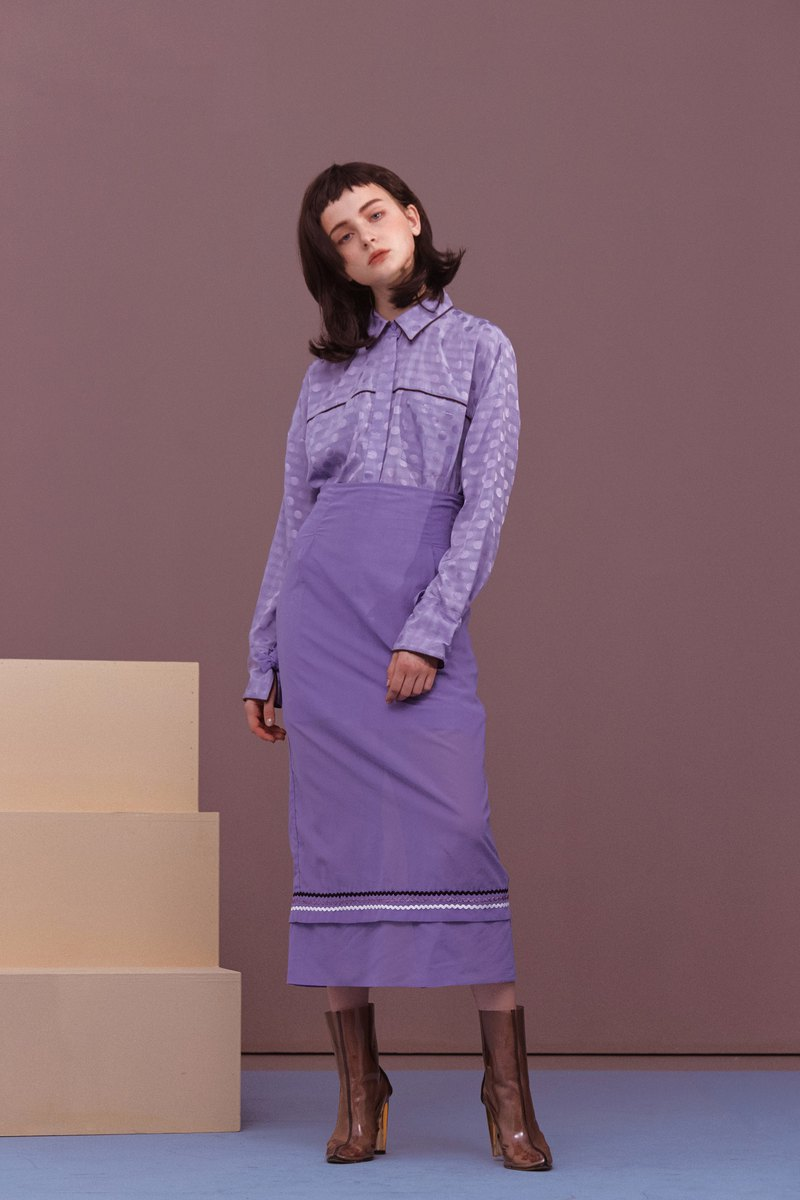 ENVOL AVEC NING hem skirt narrow skirt - purple