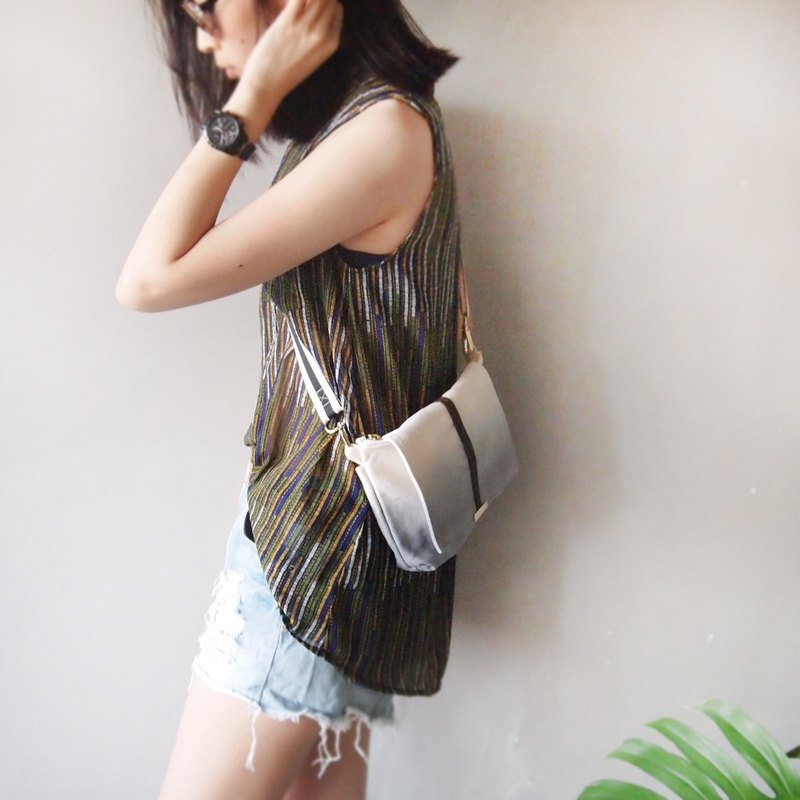 Side back diagonal pouch - grey hand dyed canvas bag