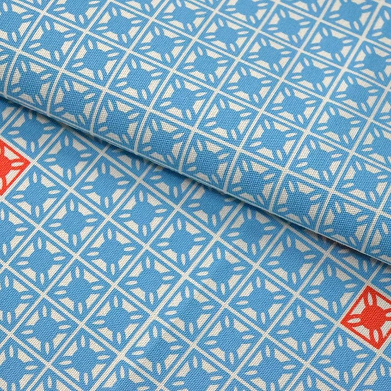 Hand-Printed Cotton Canvas - 250g/y / Old Cement Tile No.1 / Pool Blue