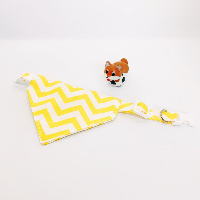 MaoFenBiBi zigzag double yellow line - mix and match style - hand made scarf & hand made collar