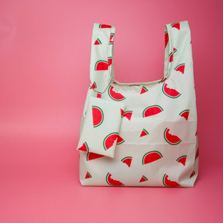 Pu.sozo cloth hand made sweet watermelon waterproof shopping bag / side backpack / beverage bag / picnic bag