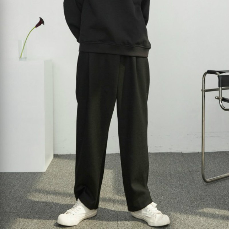 Black lazy wind irregular wool trousers slung casual wild straight loose mopping old pants
