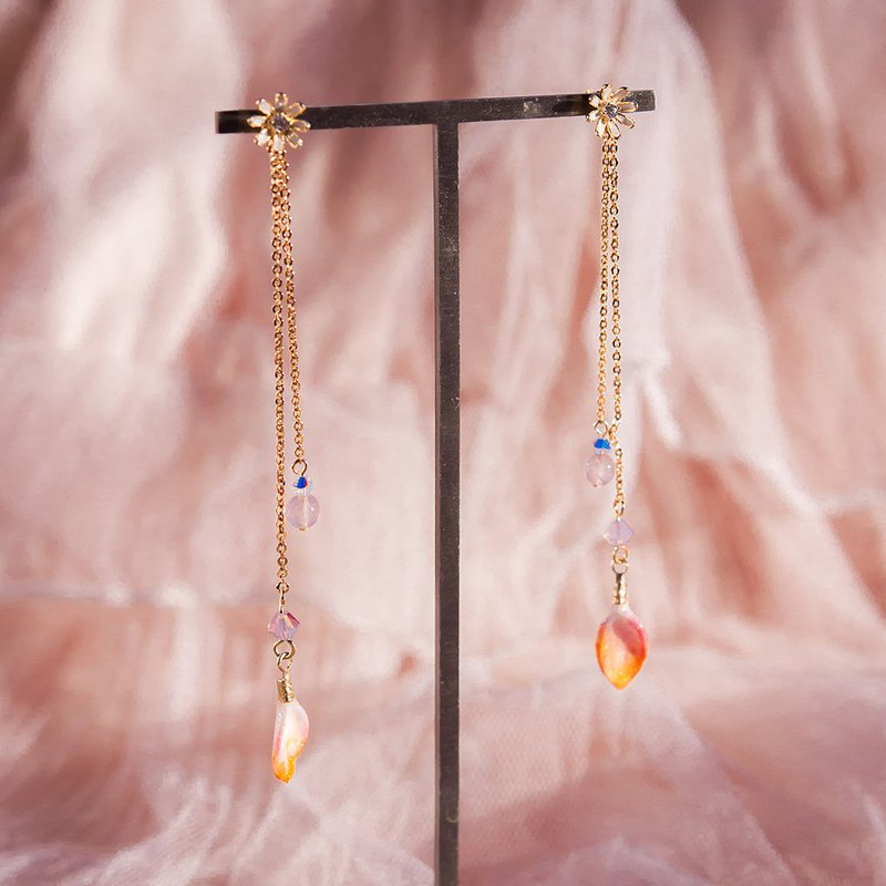 Rose Quartz Rainshower 14K Gold-plated 925 Silver Earrings