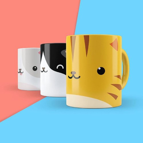 British Mustard Mug Stickers - Cat