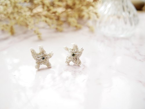 Handmade Silver White Lace Star Earrings BE070