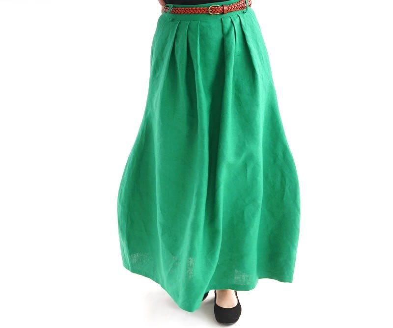 Linen Cocoon Long Skirt / Fjord Green sk1 - 9