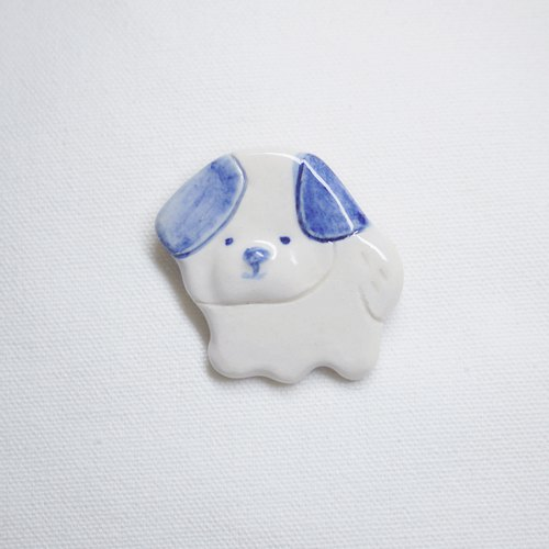 Puppy Shih Tzu brooch blue