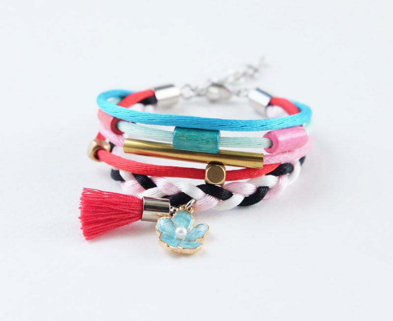 Colorful layer wrap bracelet with sky blue flower and red tassel