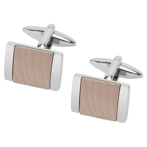 Stainless Steel IP Rose Gold Zebra Texture Cufflinks