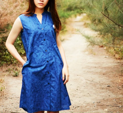 Weaver's - Blue Stained Grass Dyeing Asymmetric Dress Long Vest - Cotton