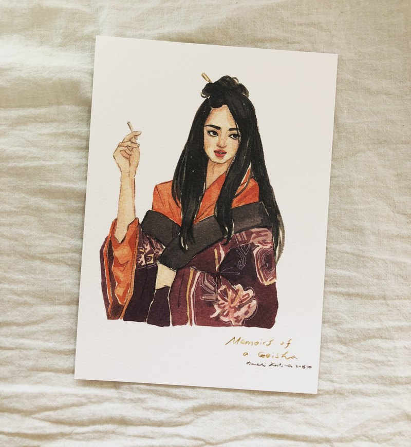 Geisha memoirs first peach movie illustration postcard