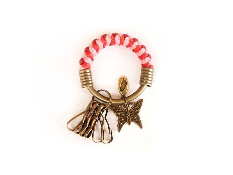 [Na UNA- excellent hand-made] key ring (small) 5.3CM burgundy + pink + red + butterflies hand-woven wax rope hoop customization