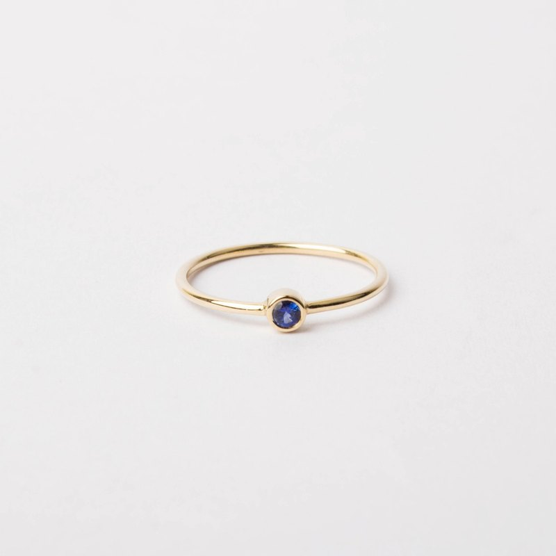 Natural Sapphire Bezel Set 14K Yellow Solid Gold Solo Ring – Stackable, Layering