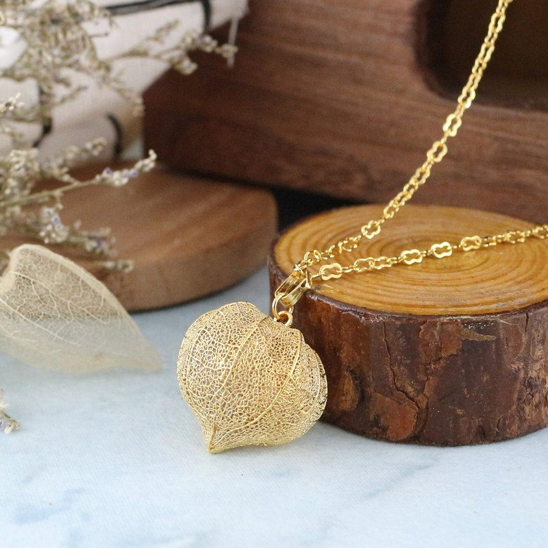 [Pure leaf vein production] Bright necklace - gold