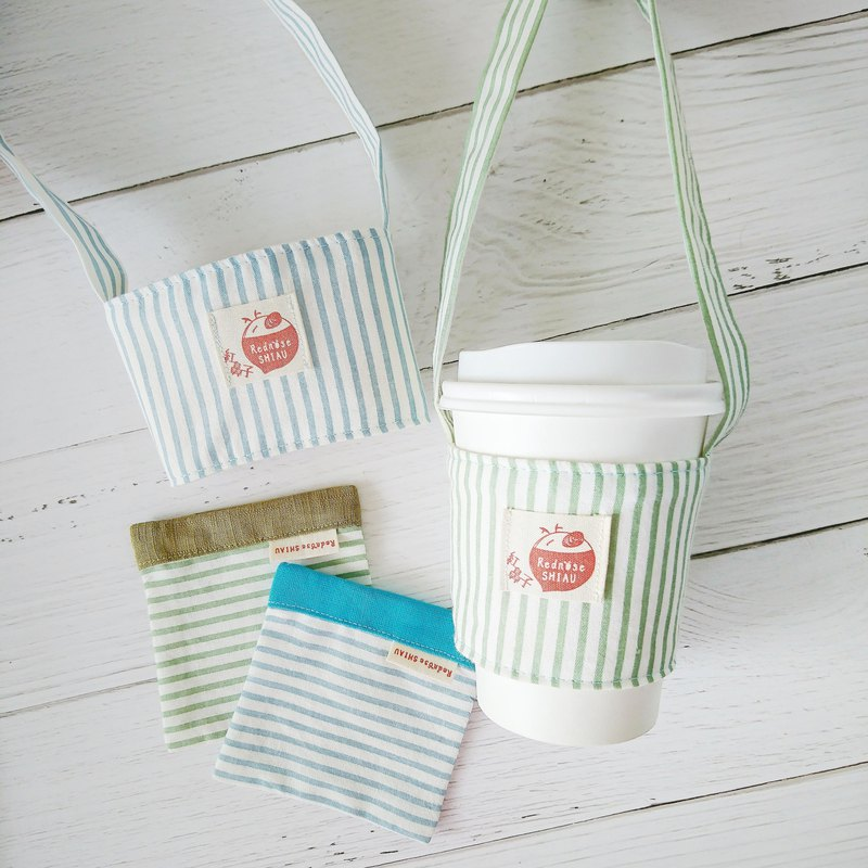 Stripe in hand - green grass + maca blue cup set + coaster set